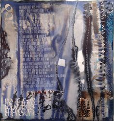 Sea Spray And Smoke Drift - Abstract calligraphy Textual Art. Lots of Acrylic ink plus lots of water and overwritten with white gouache