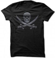Metal Jolly Roger Pirate T-Shirt.