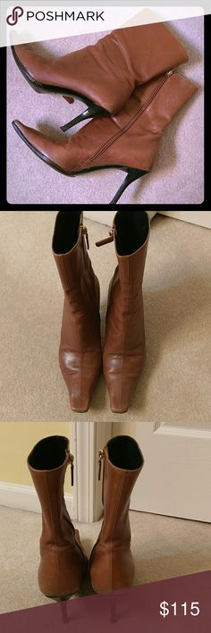 Gucci sexy boots Gucci pre-loved boots some wear as seen in pics but all they need is a good polish and they will look brand NEW. Approx 3.4 inch heels. Beautifully caramel brown color. Gucci Shoes Ankle Boots & Booties