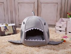 Plush Frenchie Shark Bed