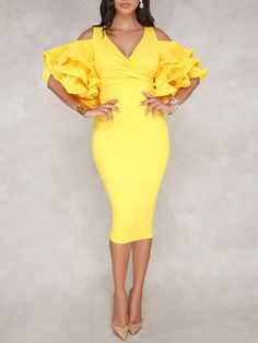 Shop Solid Frilled Cold Shoulder Wrap Midi Dress right now, get great deals at joyshoetique Bodycon Dress With Sleeves, Prom Dresses With Sleeves, African Fashion Dresses, African Dress, Chic Outfits, Fashion Outfits, Fashion Women, Fashion 2020, Dress Fashion