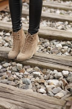 Beige suede wedge booties with laces! These boots go well with black jeans leggings or leather pants for fall or winter 2013 - 2014 ♥ Get this look at @SPARKTREND for $34, click the image to see! #wedges #boots #boot #heels
