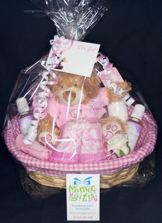 Latest Pink newborn baby gift baskets to be sold into the RVS shop at Luton&Dunstable hospital.  Facebook.com/mimicgifts mimicgifts@gmail.com