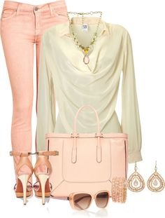 """""""Peaches and Cream"""" by lisa-holt on Polyvore"""