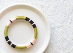 Olive.Blush Pink. Black Stackable Thread Wrapped  Bangle - no. 512C