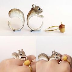 squirrel ring set collage handmade jewelry by mary lou animal jewelry