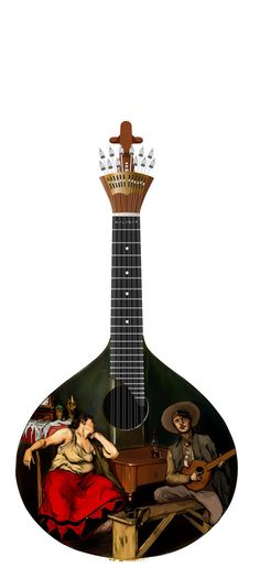 Fado Guitar - This hand-painted guitar is transcribed with the scene of a man singing Portuguese Fado, a music genre that traces back to the 1820's.