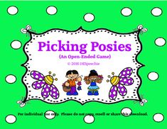 The flowers are in bloom, so lets pick some posies.  My Picking Posies open ended game is great for spring, Mothers Day, a flower theme or even a plant unit.  The student that collects all 4 of his/her flowers wins.  This game can be used for your articulation, language, fluency, and voice groups.
