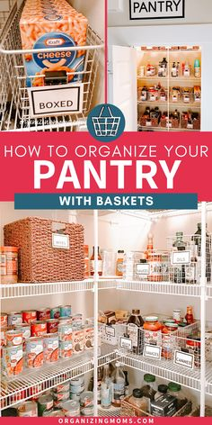 Tips for pantry organization with baskets to help you make the most of your kitchen storage space. Lots of pantry organization ideas for every type of pantry.