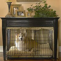dog crate under side table with curtain....soooo cool!!