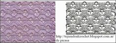 Crochet Pattern with chart. Good stitch for any kind of project ! A single row of scallops would work well for an edging.