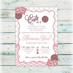 Printable Cute as a Button Baby Shower Invitation by BeyondDigital