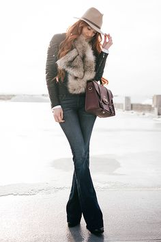 fall / winter - street style - street chic style - winter outfits - casual outfits - nude fedora + black leather jacket + flare jeans + black heeled booties + brown fur scarf + burgundy handbag
