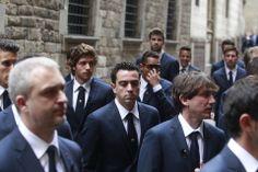 Los jugadores del FC. Barcelona, a su llegada esta tarde a la catedral de Barcelona