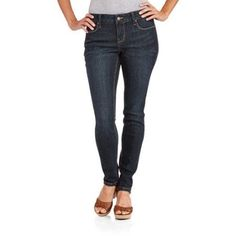 Faded Glory Women's Core Skinny Jeans available in Regular and Petite, Size: 12P, Gray