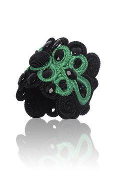 Bracciale, passamaneria, nero, verde, pietre, moda, gioielli