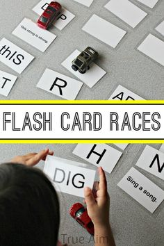 Teach Your Child To Read Fast - Put your child's literacy skills in the fast lane with this fun Flash Card Races game that he can play with his favorite Hot Wheels cars! - TEACH YOUR CHILD TO READ and Enable Your Child to Become a Fast and Fluent Reader! Sight Word Activities, Reading Activities, Educational Activities, Teaching Reading, Preschool Activities, Kids Learning, Reading Stations, Literacy Skills, Sight Words