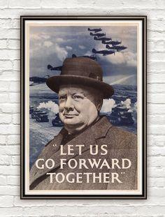 Vintage War Poster let us go forward together by OldCityPrints