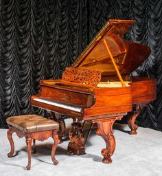 Stunning Steinway & Sons Style 1 Rococo Victorian Grand Piano | The Antique Piano Shop
