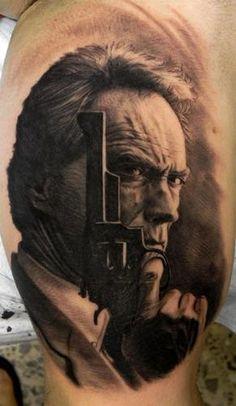 "Xavi Garcia Boix of Valencia, VC. Spain black and grey portrait Clint Eastwood,""Do you feel lucky, punk?""    #ink #tattoos #tattoo #inked"