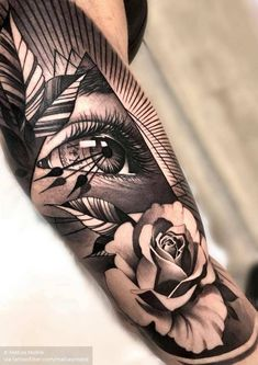 sleeve tattoos Amazing black and grey realism eye and rose tattoo by matiasnobletattoo. Dope Tattoos, Leg Tattoos, Black Tattoos, Body Art Tattoos, Small Tattoos, Tattoo Black And Grey, Black And Grey Tattoos Sleeve, Tatoos, Forearm Sleeve Tattoos