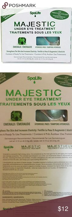 Spa Life Majestic Under Eye Treatments Spa Life Majestic Under Eye Treatments - Feel Refreshed - Strengthens Skin - 6  Item Descriptions: Rejuvenates brightens under eye skin with dimond collagen, hydrogel pad  FEATURE: Includes 1 packs of 6 treatments each (12 pads total) Help anti-aging and anti-wrinkle process Moisturizes, hydrates, and stimulates skin Hydrates and Firms Skin Majestic Other