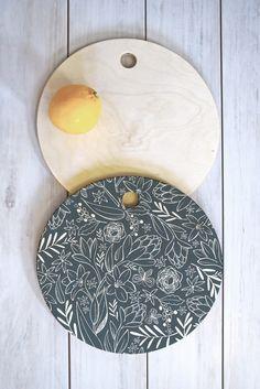 Heather Dutton Botanical Sketchbook Midnight Cutting Board Round   DENY Designs Home Accessories