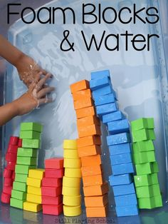 Blocks in Water Lots of learning ideas for kids in this foam blocks and water sensory play!Lots of learning ideas for kids in this foam blocks and water sensory play! Sensory Table, Sensory Bins, Sensory Activities, Sensory Play, Classroom Activities, Preschool Activities, Classroom Ideas, Sensory Blocks, Therapy Activities