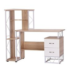 "HomCom 52"" Multi Level Tower Office Workstation Computer Desk - White and Oak"