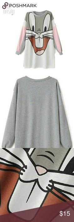 Long Sleeves Happy Bunny Casual Long Sweatshirt Long Sleeves Happy Bunny Casual Long Sweatshirt Tops Sweatshirts & Hoodies