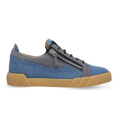 GIUSEPPE ZANOTTI Shark Low-Top Denim Sneakers. #giuseppezanotti #shoes #sneakers