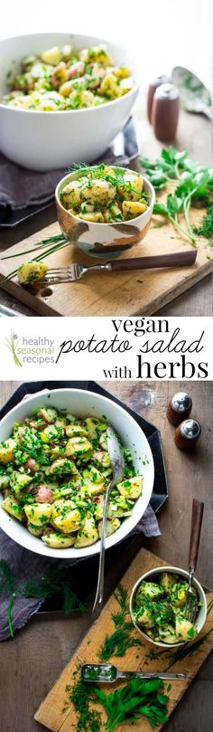 Try this Vegan Potato Salad with Herbs for the Fourth of July! It's so delicious. And simple to make too: Just a simple oil and vinegar dressing and a ton of herbs. Adding the optional finely chopped sun dried tomatoes makes it extra special! @healthyseasonal