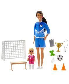 Explore a world of competitive fun with the Barbie Soccer Coach Playset When a girl plays with Barbie, she  imagines everything she can become, and if you love to play soccer, you can be a soccer coach This playset includes a soccer training environment featuring the Barbie Soccer Coach doll dressed in a blue soccer uniform with cleats, and her cute soccer player student doll dressed in a pink soccer uniform with cleats. Kids can score all kinds of fun coaching and playing soccer games with both Soccer Games For Kids, Play Soccer, Soccer Ball, Soccer Coaching, Soccer Training, Soccer Accessories, Chelsea Soccer, Barbie And Her Sisters, Soccer Uniforms