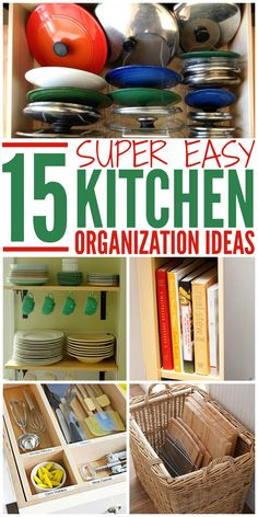 These kitchen organization ideas are super easy to implement when you're short on time (and DIY skills). Get your kitchen organized once and for all!