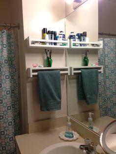 Turn the spice rack upside down and it becomes a shelf plus towel rack - bekvam spice rack hand towel.