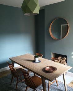 Dining Room / Colour: Oval Room Blue / Table: Unto this Last #farrowandball…