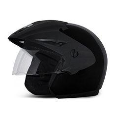 Vega Cruiser Open Face Helmet with Peak (Black, M)