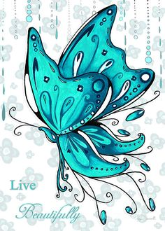 Turquoise Aqua Butterfly And Flowers Inspirational Painting Design Megan Duncanson - Live Beautifully