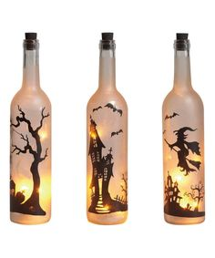 Check out this LED Halloween wine bottle candle - Wine Bottle Crafts Christmas bottle crafts halloween diy bottle crafts halloween holidays bottle crafts halloween witch Wine Bottle Candles, Wine Bottle Art, Painted Wine Bottles, Lighted Wine Bottles, Diy Bottle, Bottles And Jars, Decorated Bottles, Recycle Wine Bottles, Beer Bottle