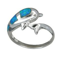 Sterling Silver Blue Opal Hawaiian Jumping Dolphin Ring