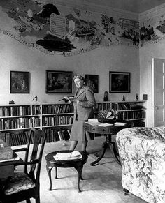 Agatha Christie reading and walking in Greenway, her English summer home.