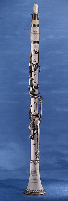 Clarinet in B-flat Charles Joseph Sax Date: 1830 Geography: Brussels, Belgium Medium: Ivory, brass Mais Clarinet Sheet Music, Bass Clarinet, All Music Instruments, Band Nerd, Love Band, All About Music, Art Music, Dope Music, Music Wall