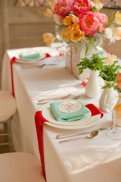 Peach, Aqua, White & Red Color Palette - The Bride's Cafe. I would have the aqua in a runner down the table, and red napkins. I love the draping red napkins here.