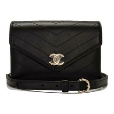 3640510805f6 The Chanel Waist Bag Coco Chevron Calfskin Double-wrap (Fanny Pack) Black  Leather Shoulder Bag is a top 10 member favorite on Tradesy.