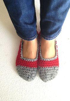 Red Tweed Grey Crochet Womens Slippers Ballet Flats by cookieletta, $19.00