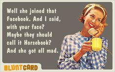 50's housewife and Facebook.