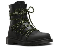 Ready to stand apart? The considered details in the Zelda boot channel the early 90s Manchester rave scene with sophistication, including extreme neon-and-black ghillie lacing over mixed black leathers and brogue styling. The women's boot still has tons of classic Doc's DNA, like grooved edges, a scripted heel-loop and a rebelliously comfortable air-cushioned sole. Built to last, the Zelda is made using one of the finest methods of shoe construction available: the Goodyear Welt.