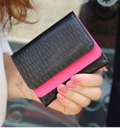 Carteiras Feminina Mini Croco preta com rosa
