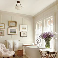 All wall space and woodwork, including crown molding, is the same color.