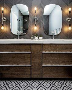 Porcelain Tiles, Stone Tiles, Double Vanity, Slate, Hardwood, Mosaic, Wall Lights, Lighting, Design